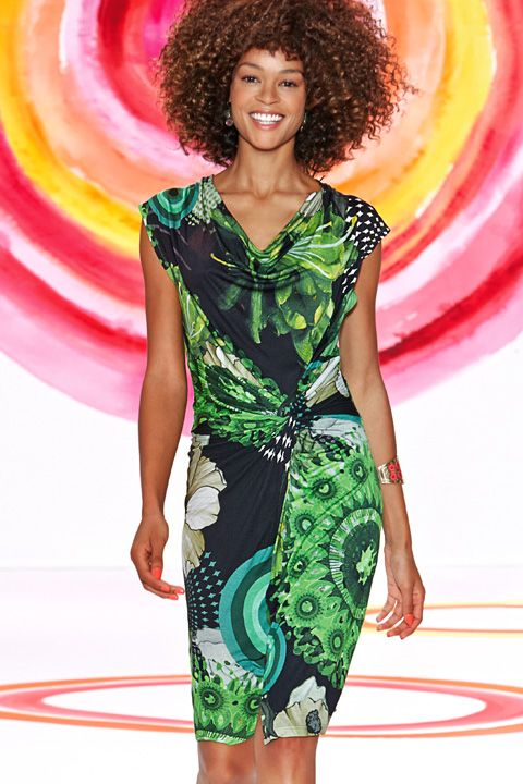 Innovation of classic wraparound dresses - summer dress Desigual in green color