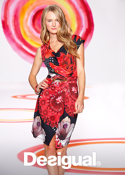 Summer Desigual Uralet Ladies Dress in Red.