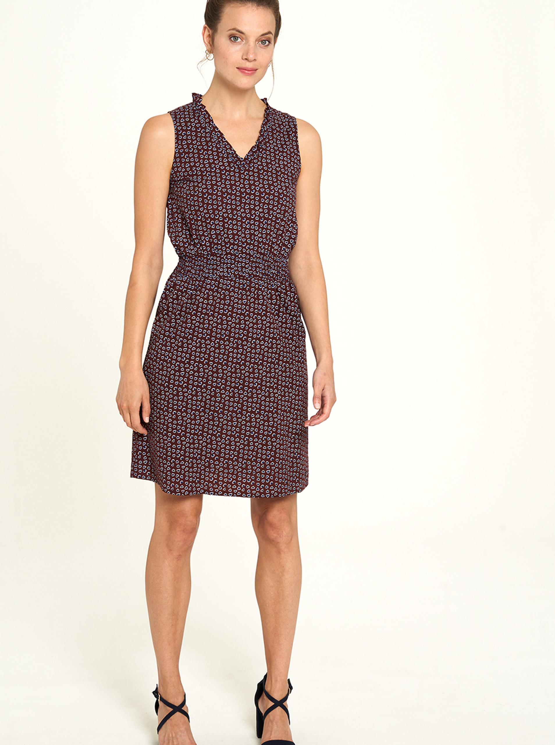Tranquillo brown dress with small pattern