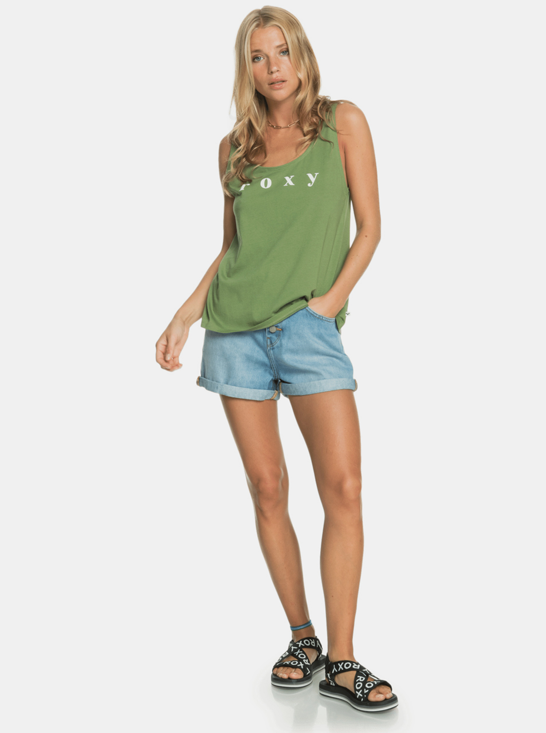 Roxy green top with print