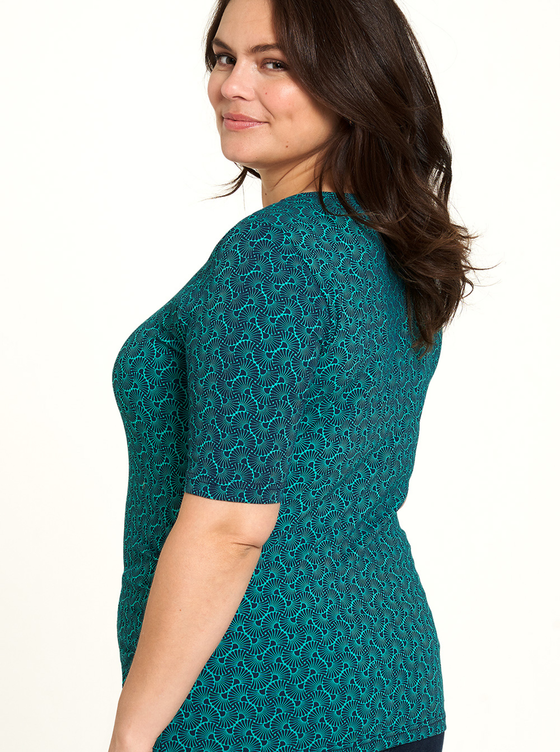 Tranquillo green T-shirt with pattern