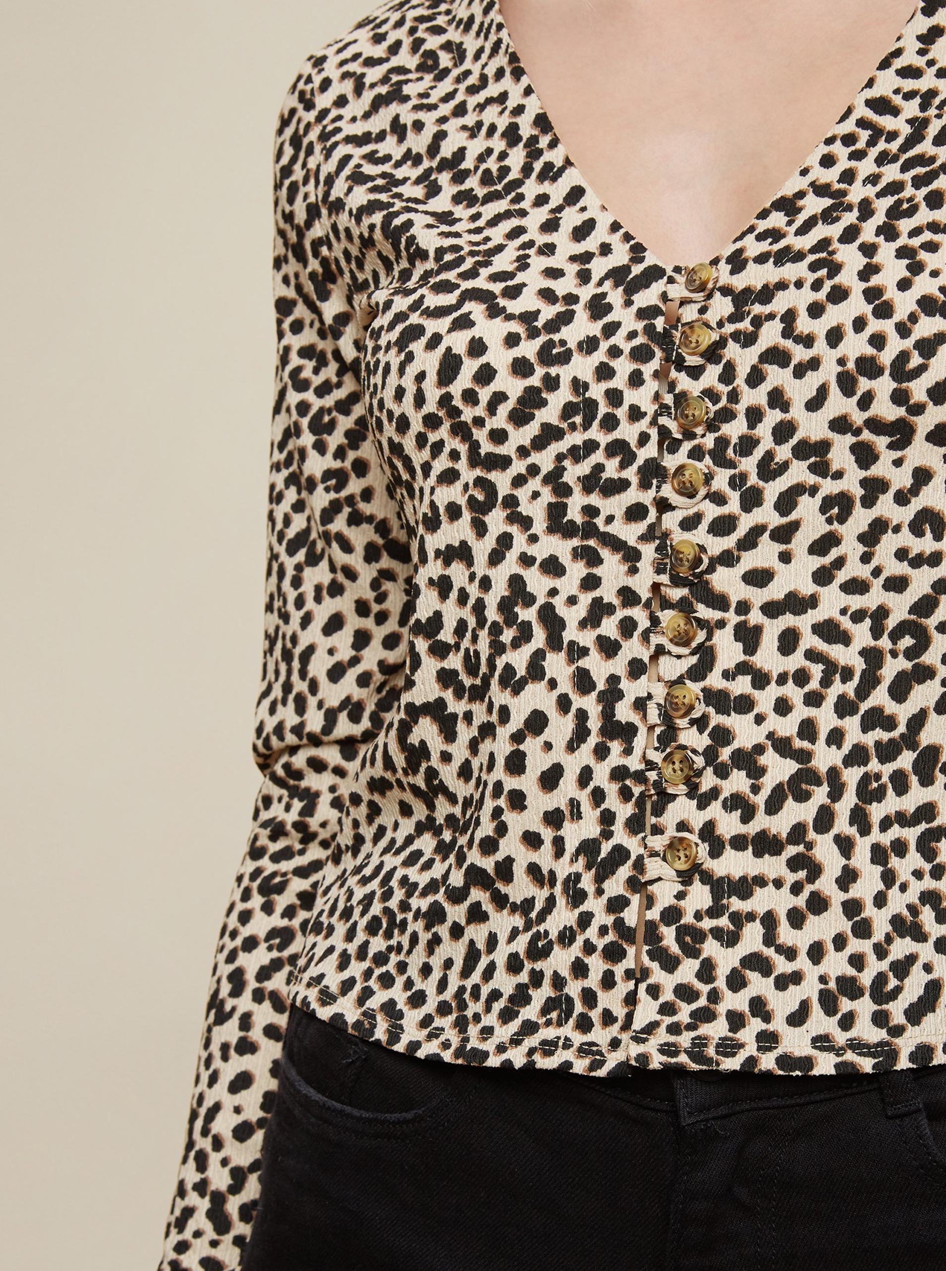 Dorothy Perkins beige T-shirt cropped s knoflíky