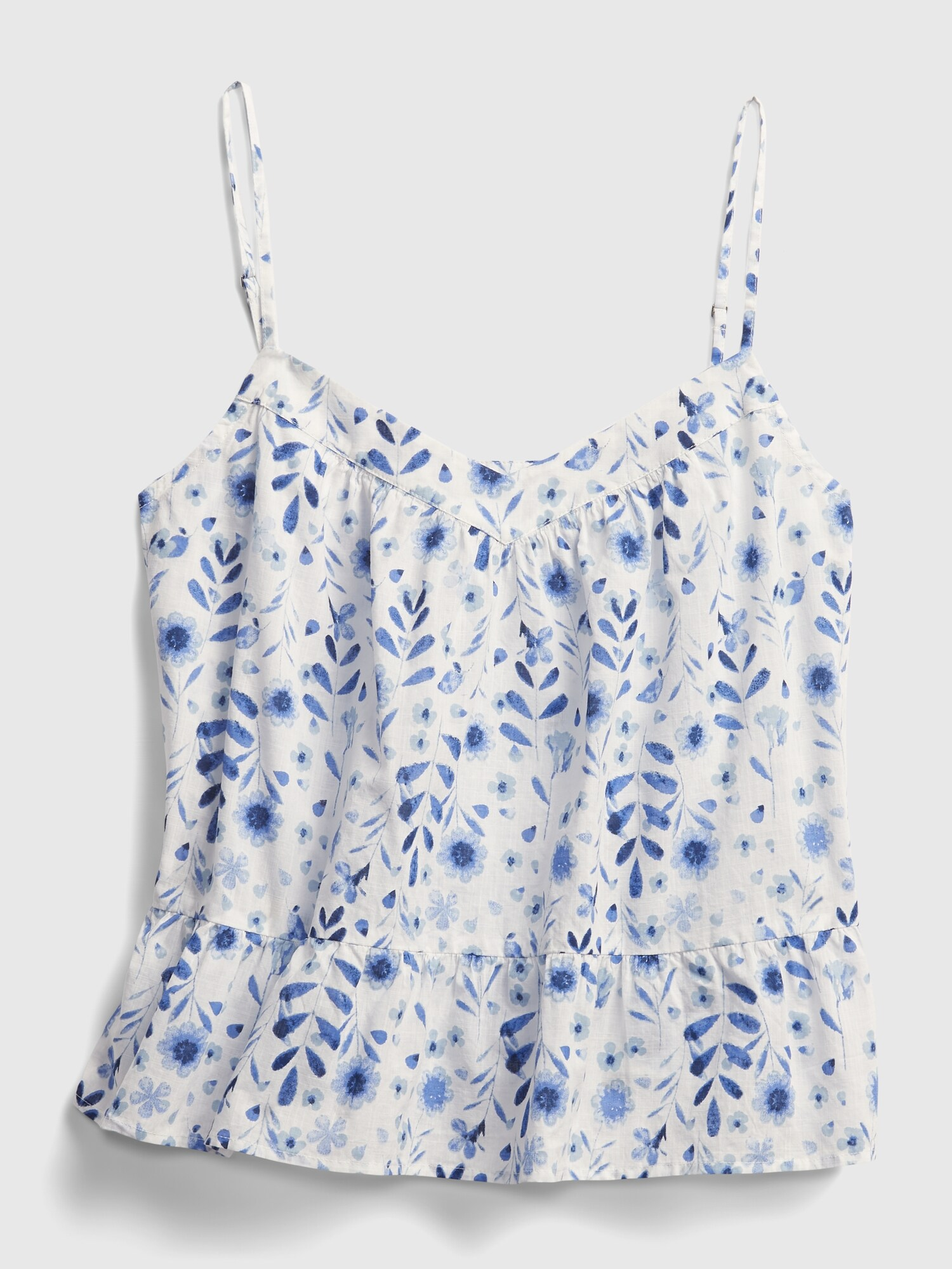 GAP blue top Peplum Swing with floral motif