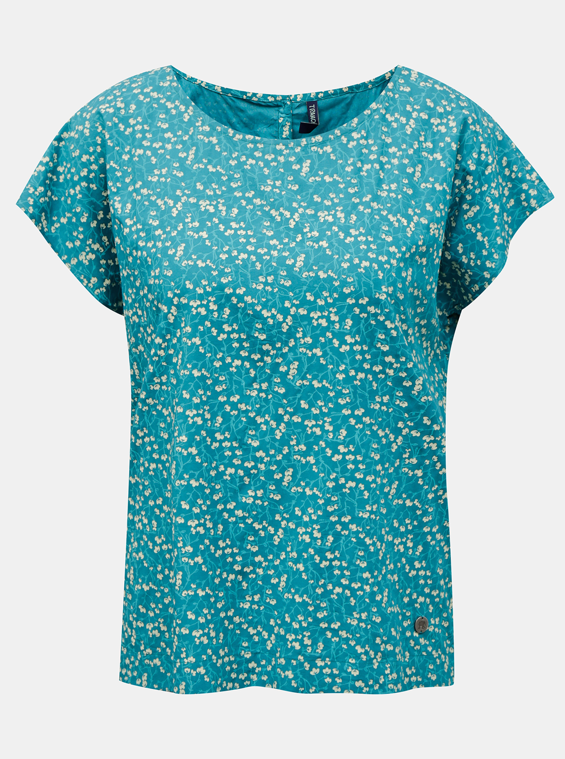Tranquillo turquoise T-shirt with floral motif