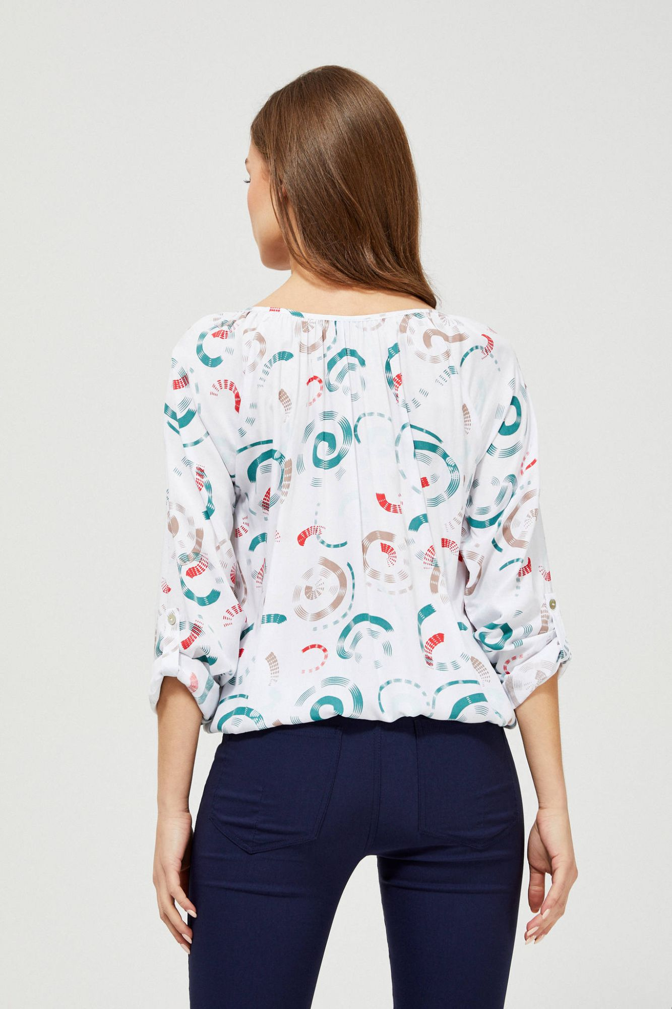 Moodo white blouse with pattern