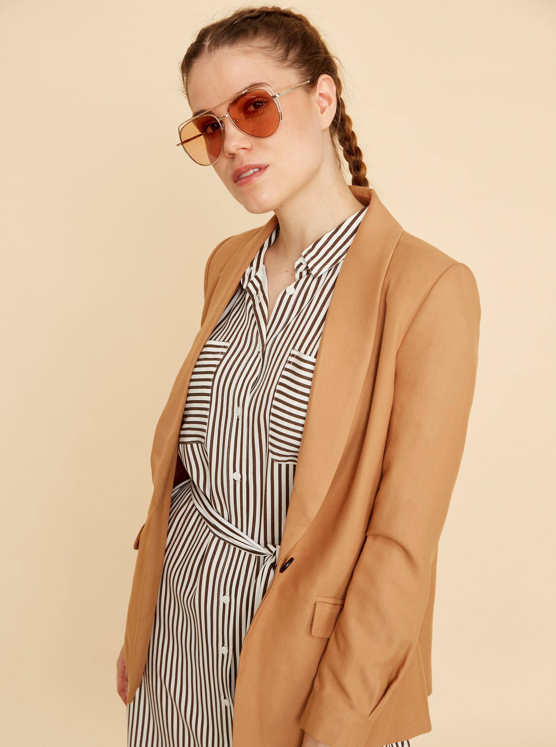 ZOOT brown striped shirts dress Joy