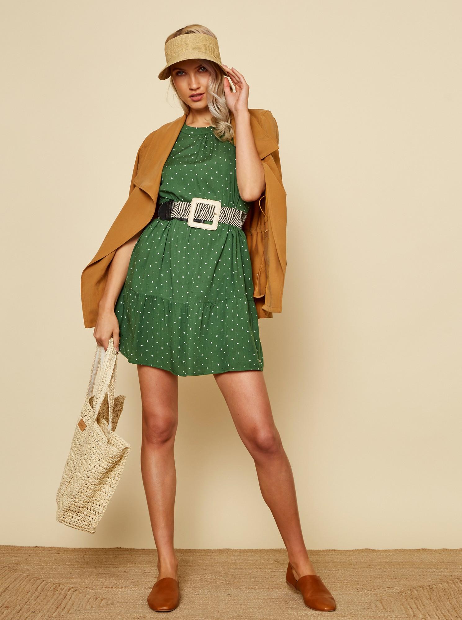 ZOOT green polka dot dress Mira