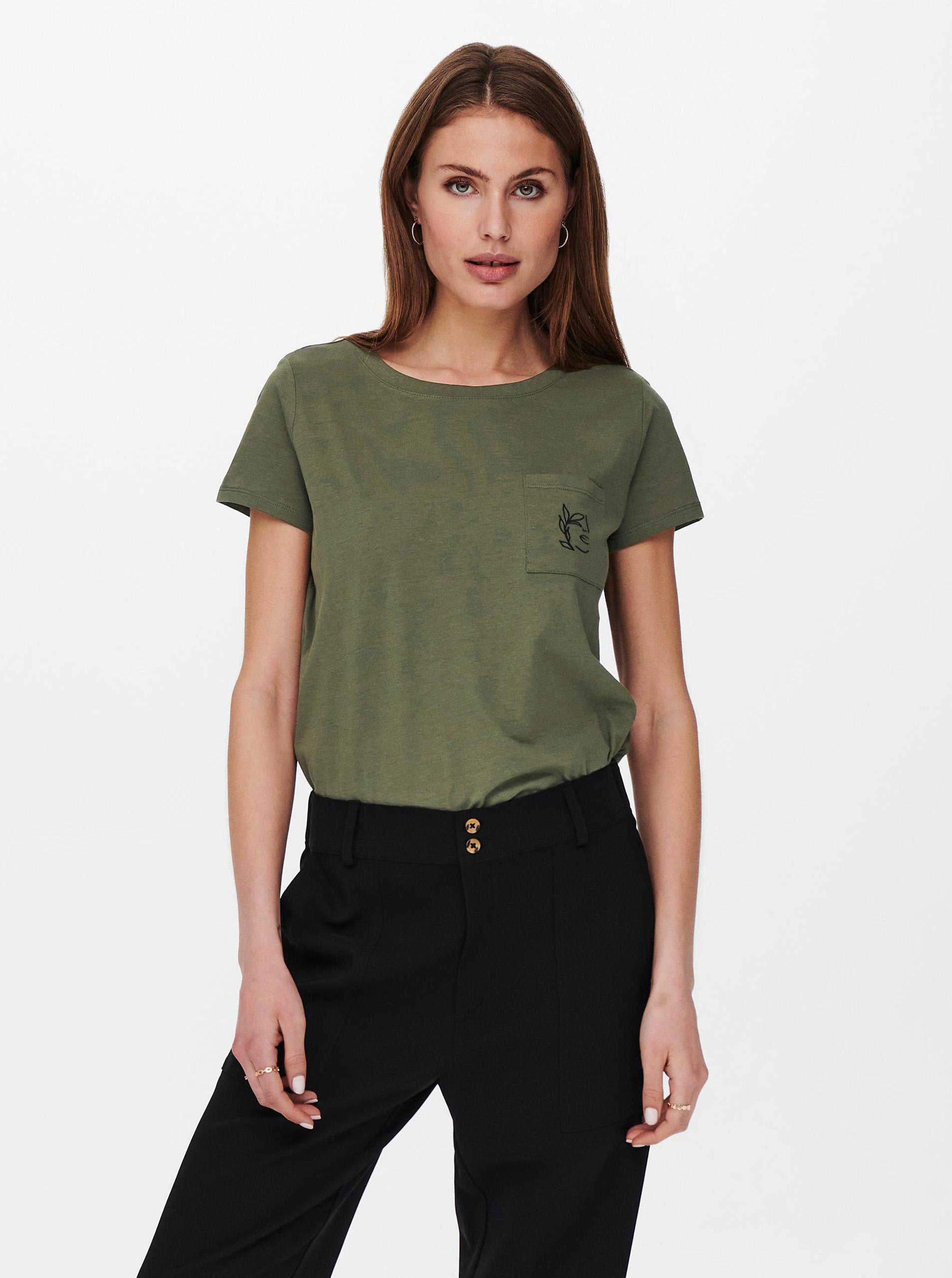 Jacqueline de Yong khaki T-shirt Dina
