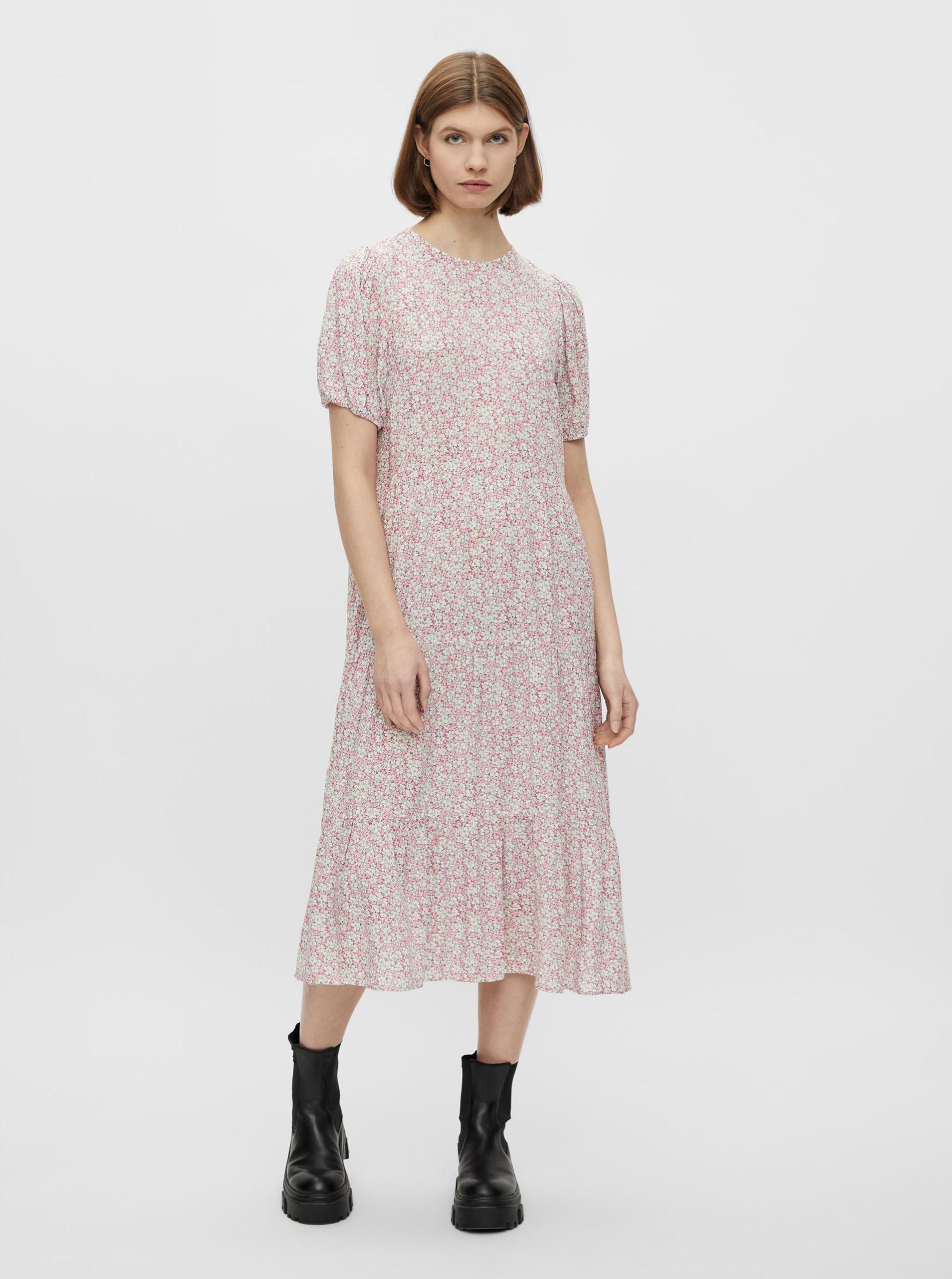 Pieces pink midi flowered dress Anneline