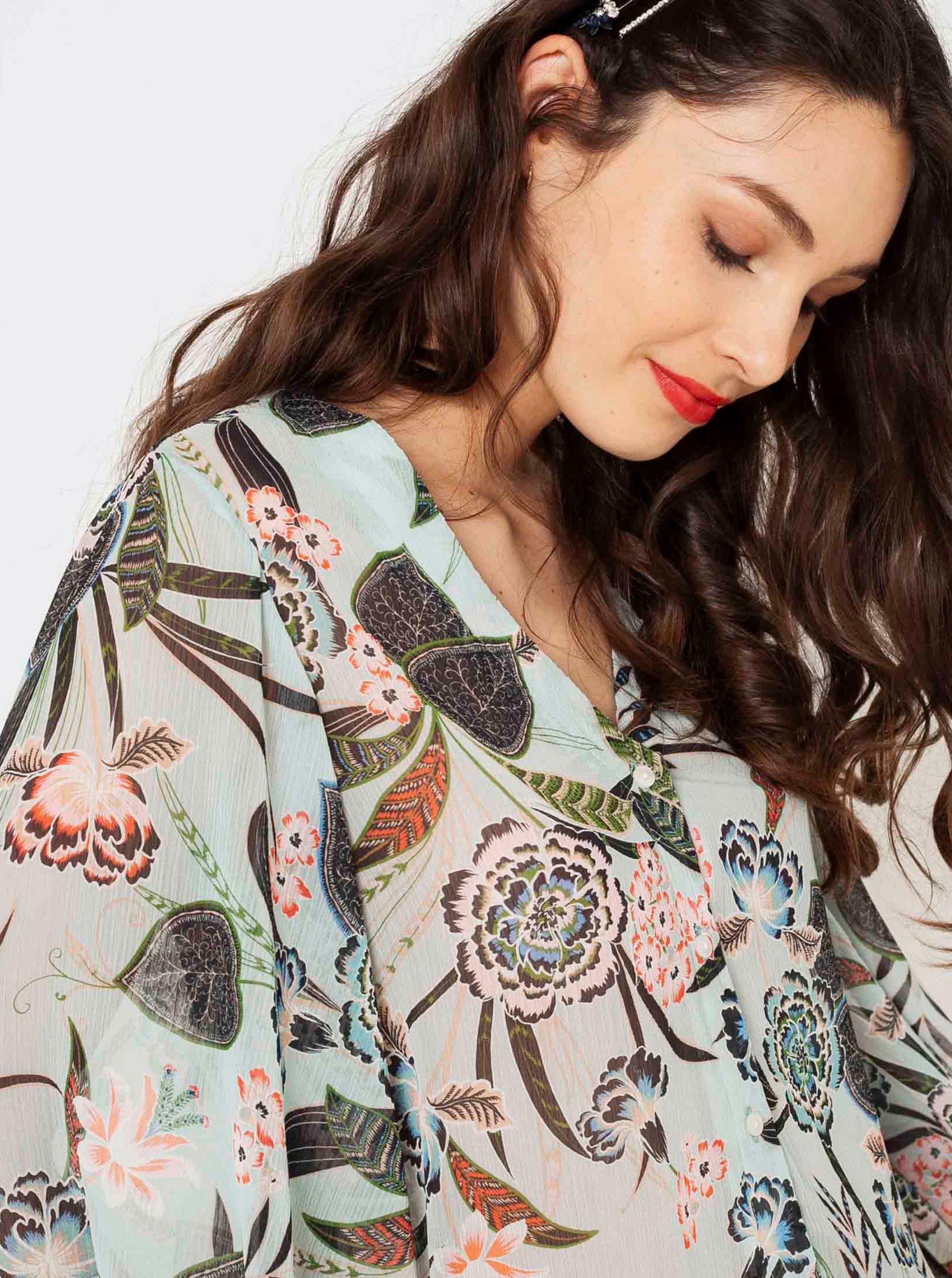 CAMAIEU blue blouse with floral motif