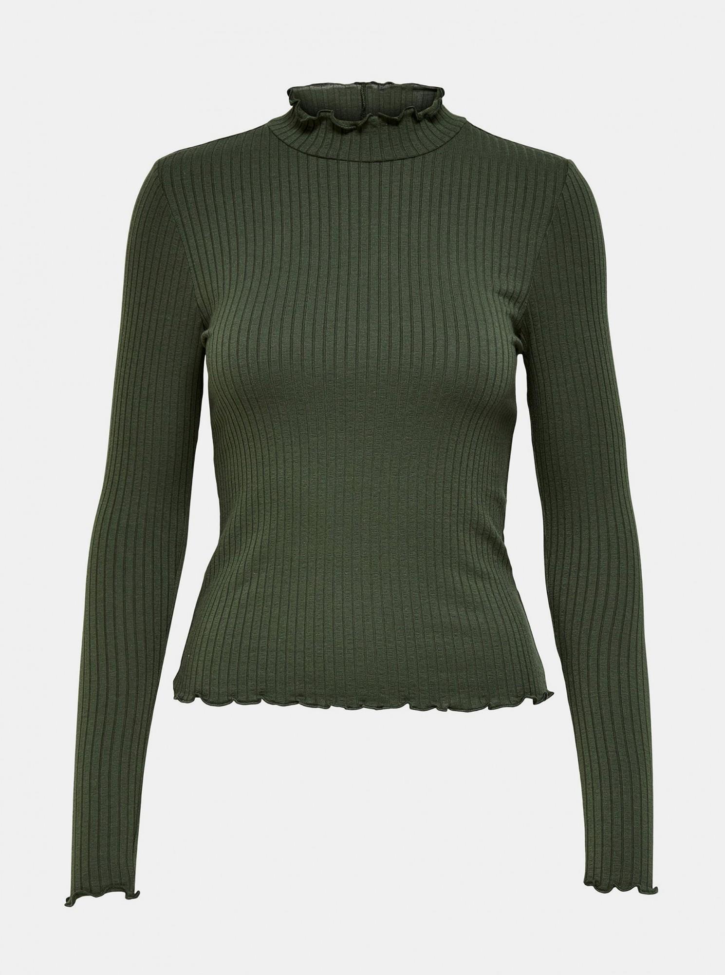Jacqueline de Yong green T-shirt Fransiska with polo neck
