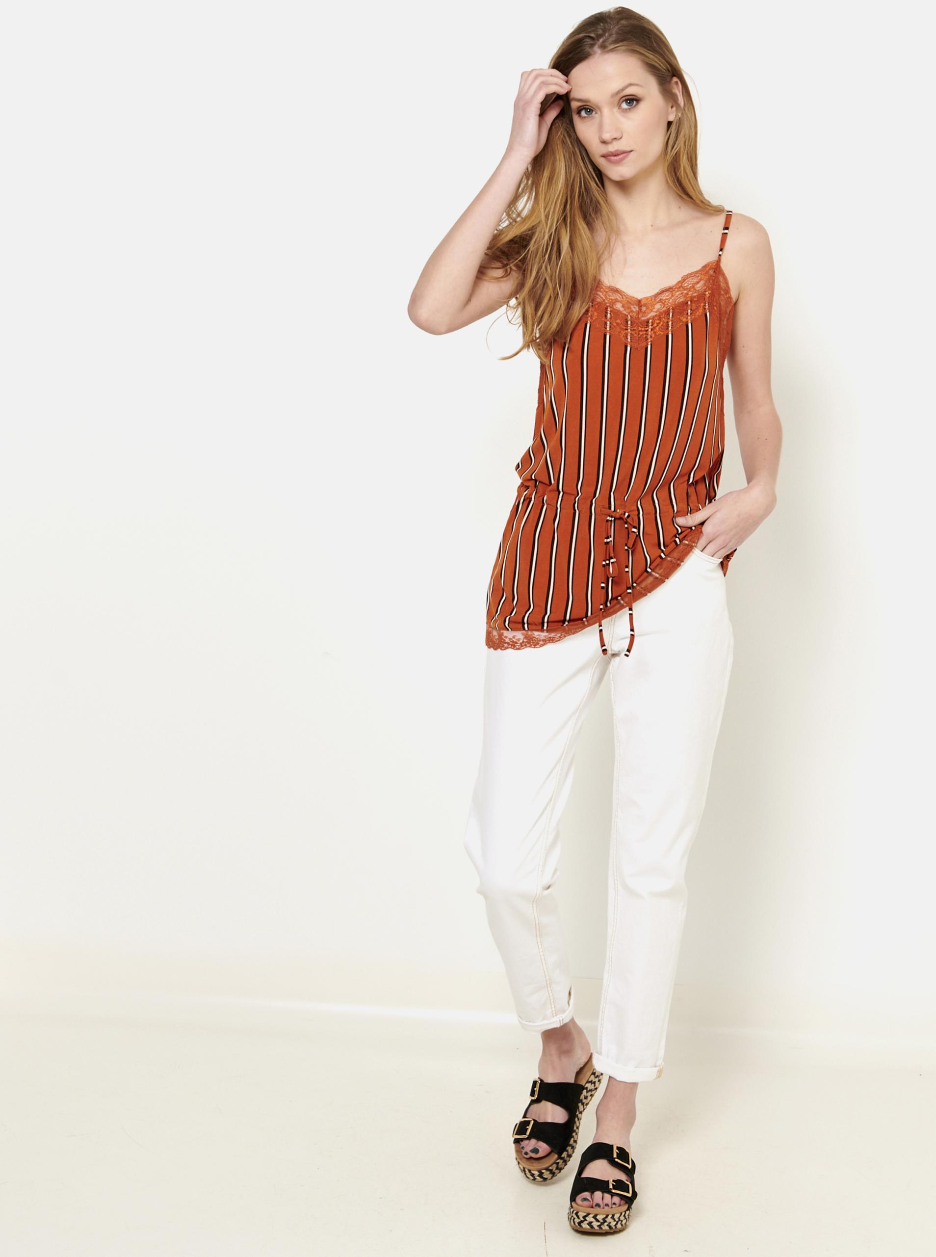 CAMAIEU orange striped top with lace