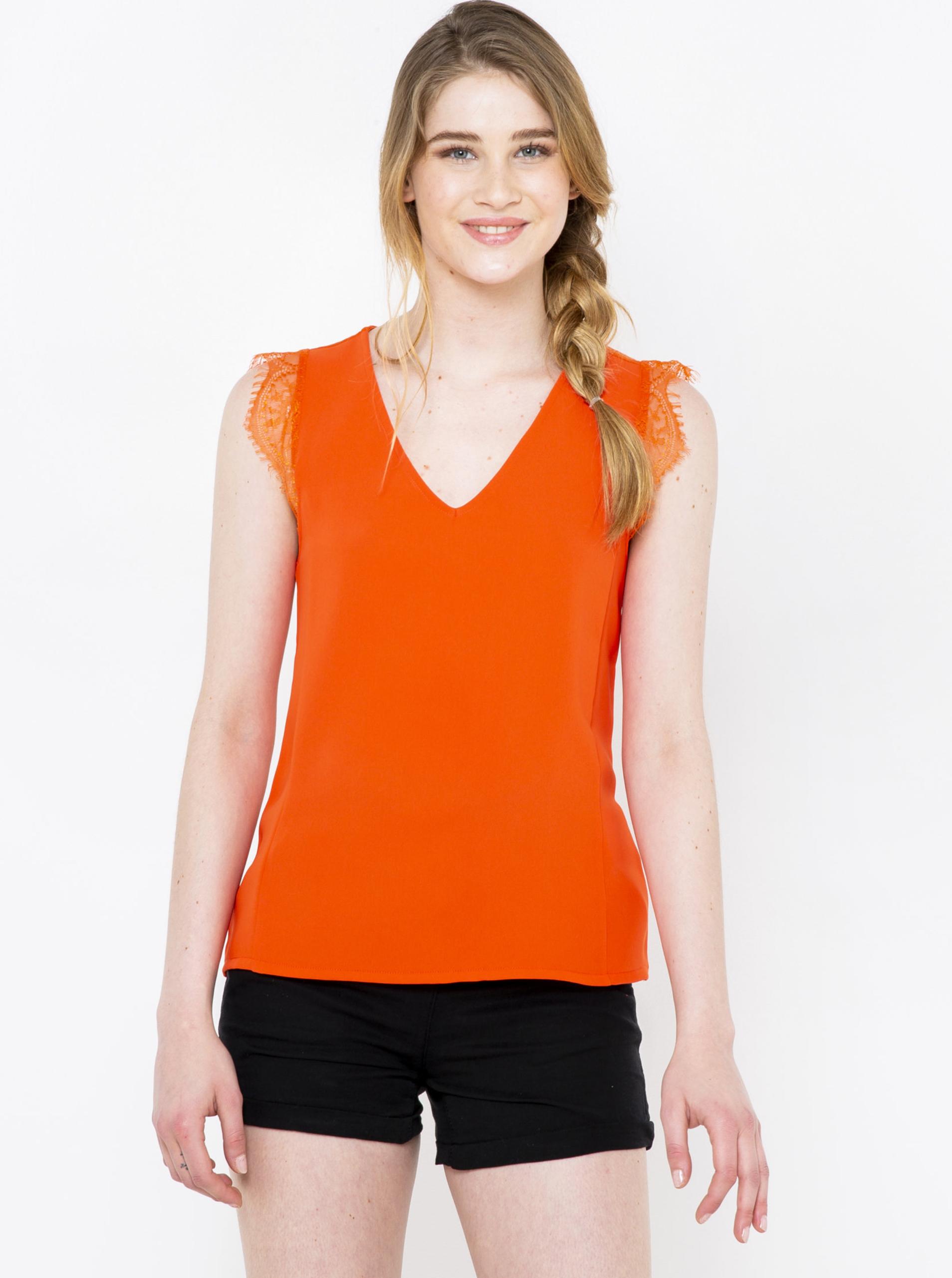CAMAIEU orange women´s top with lace