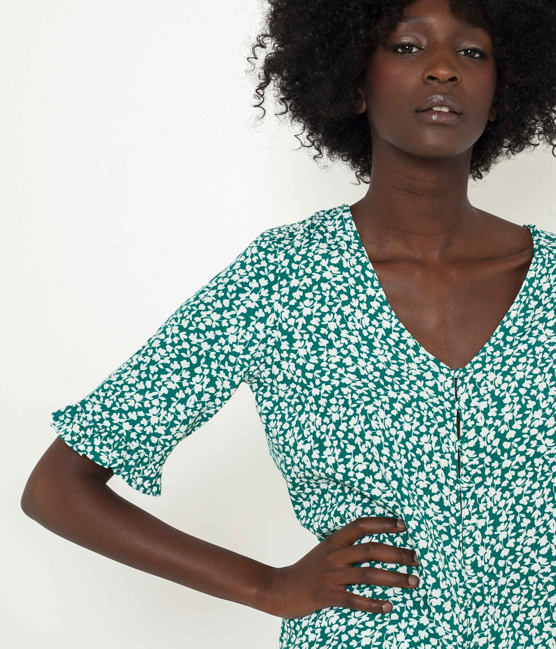CAMAIEU green blouse with floral motif