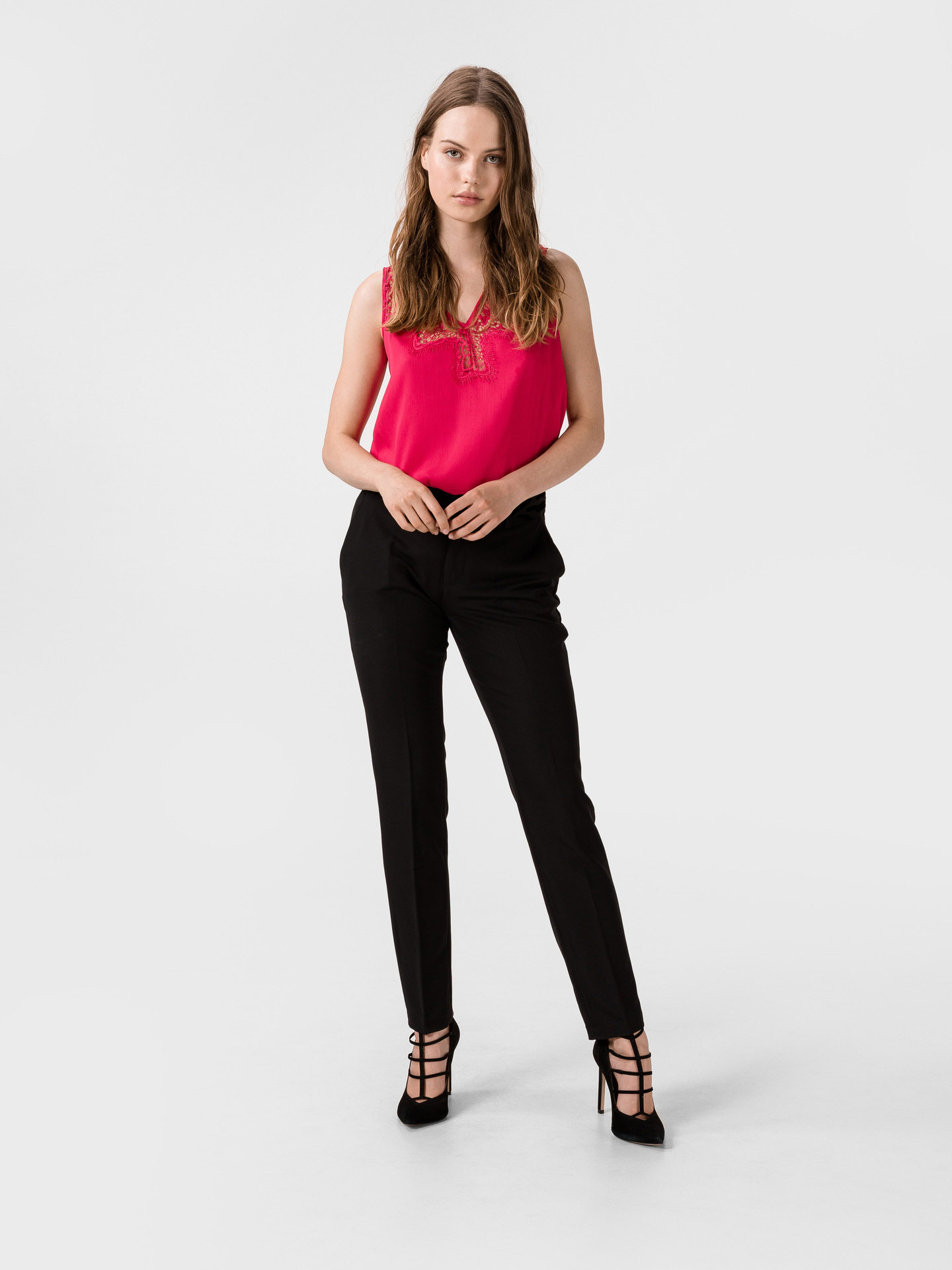 Guess pink top Mariam with lace