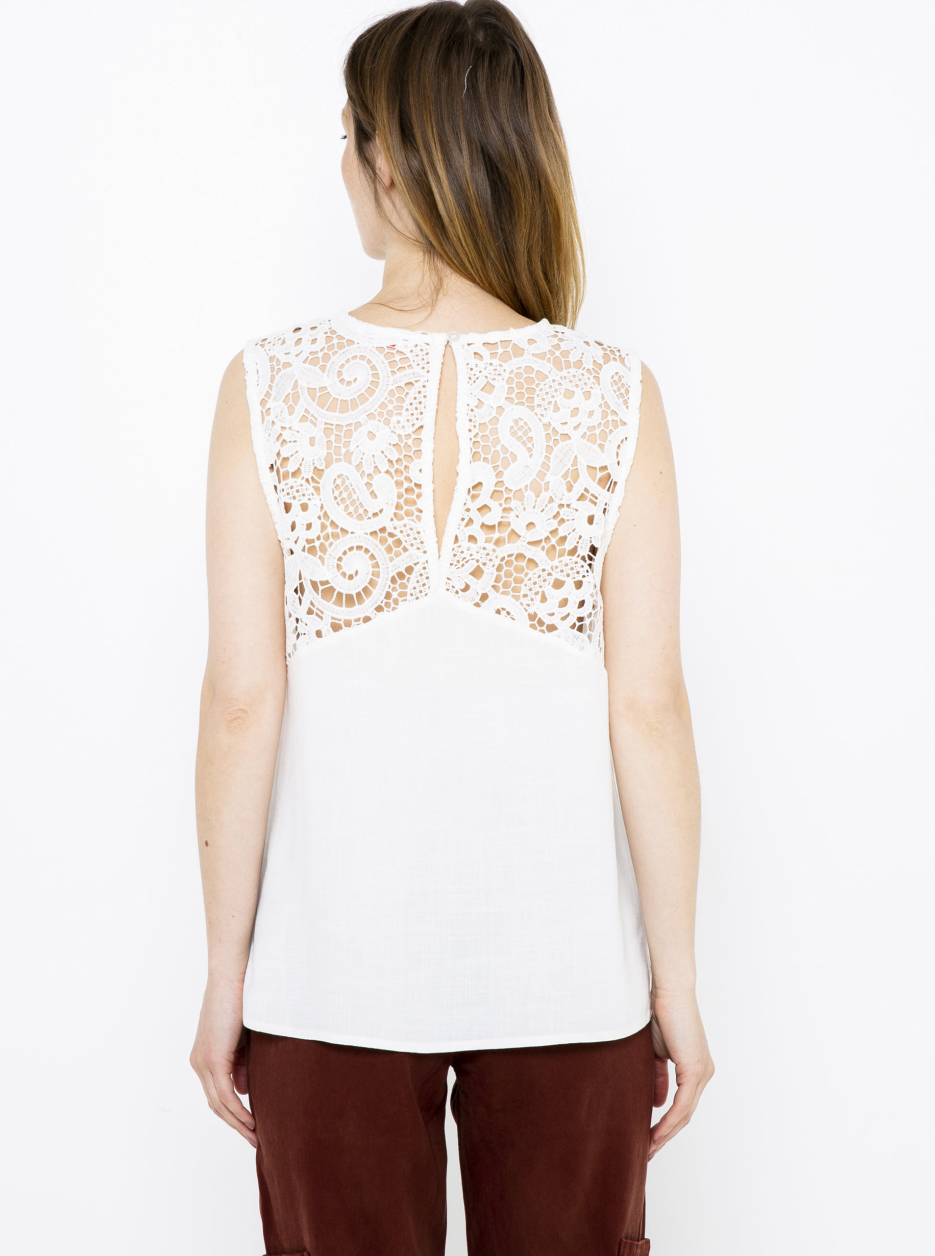 CAMAIEU white blouse with lace