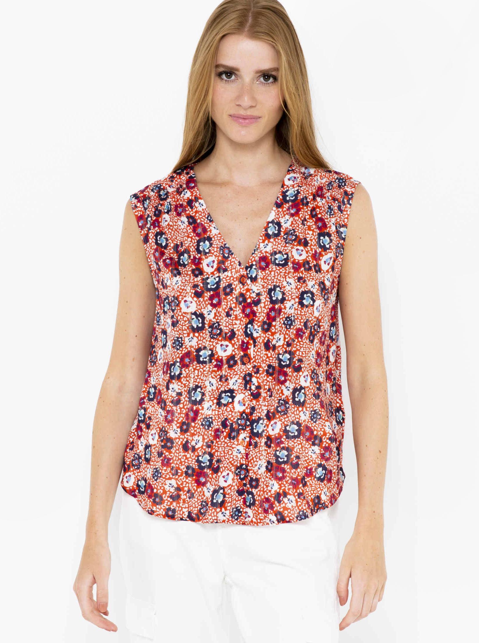CAMAIEU orange women´s top with floral motif