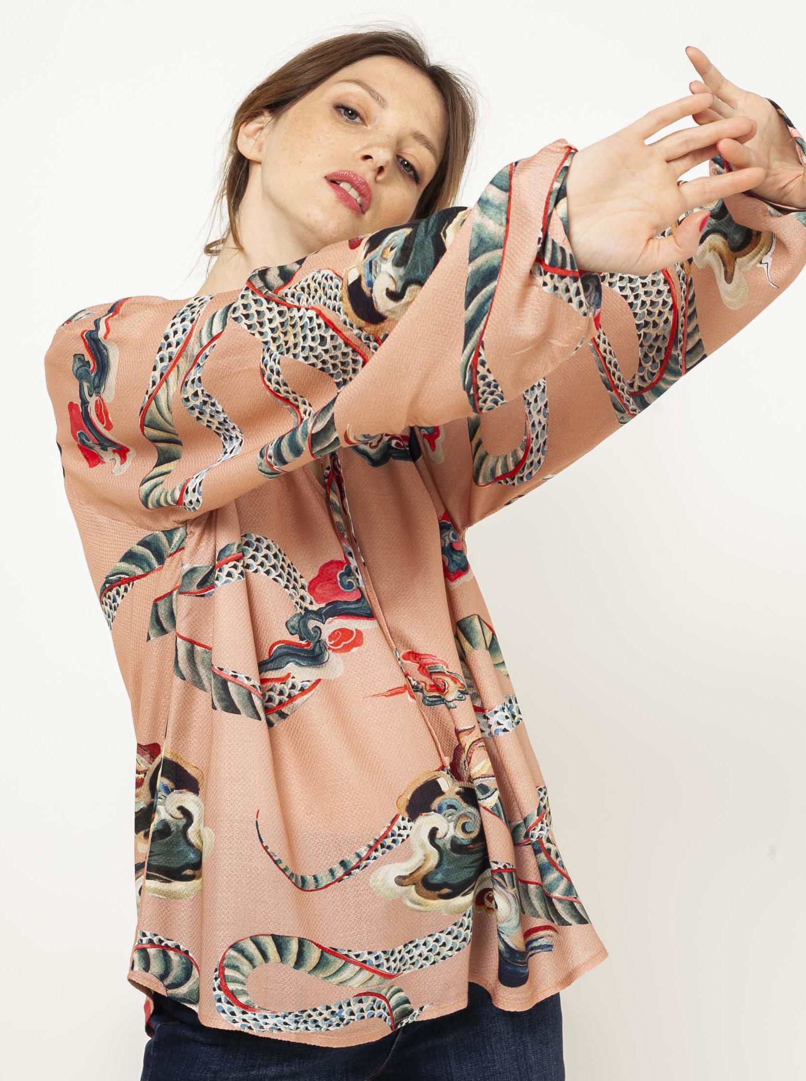CAMAIEU cream / cream blouse with pattern