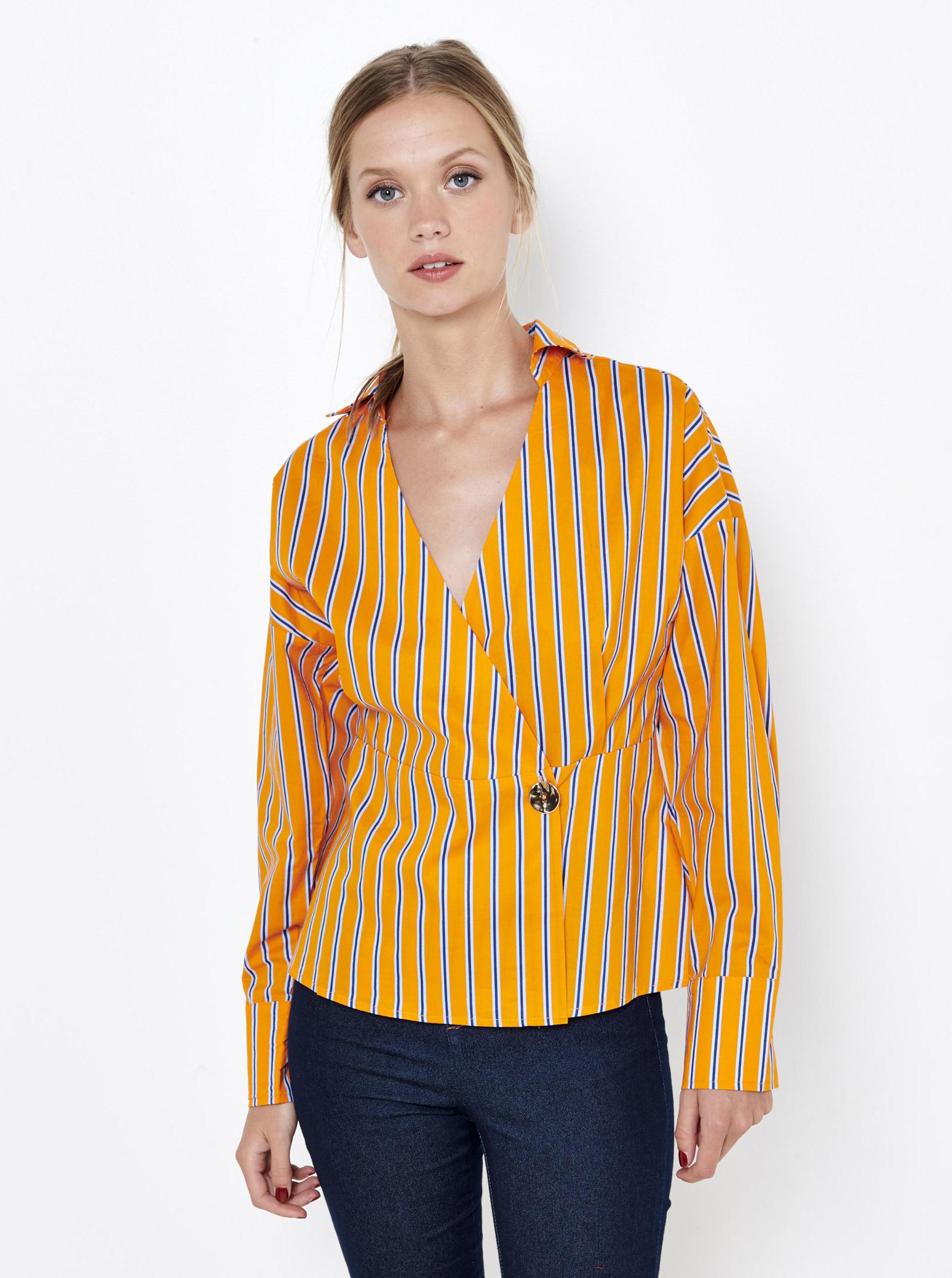 CAMAIEU yellow striped blouse