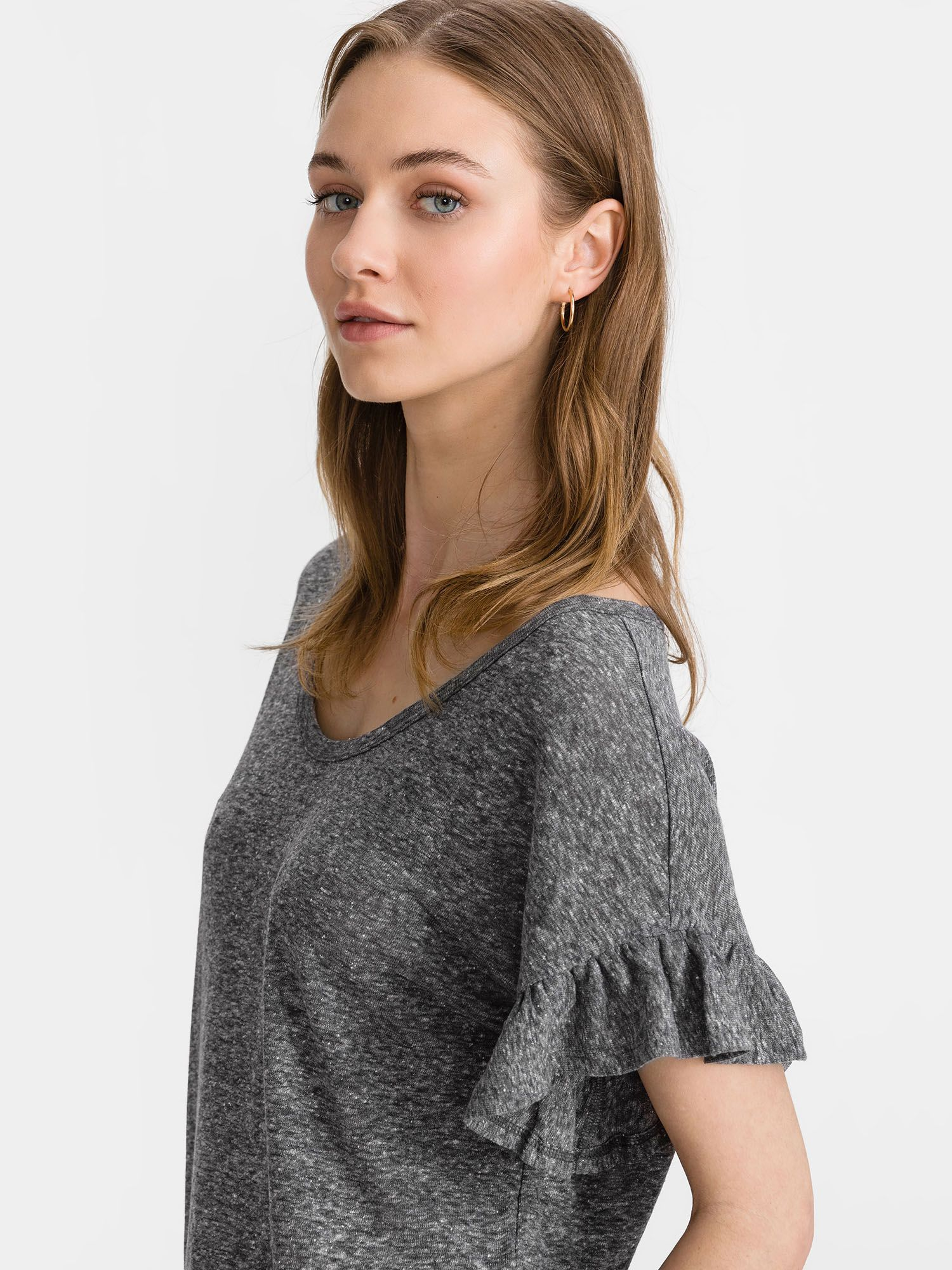 GAP Ruffle Sleeve T-shirt Grey
