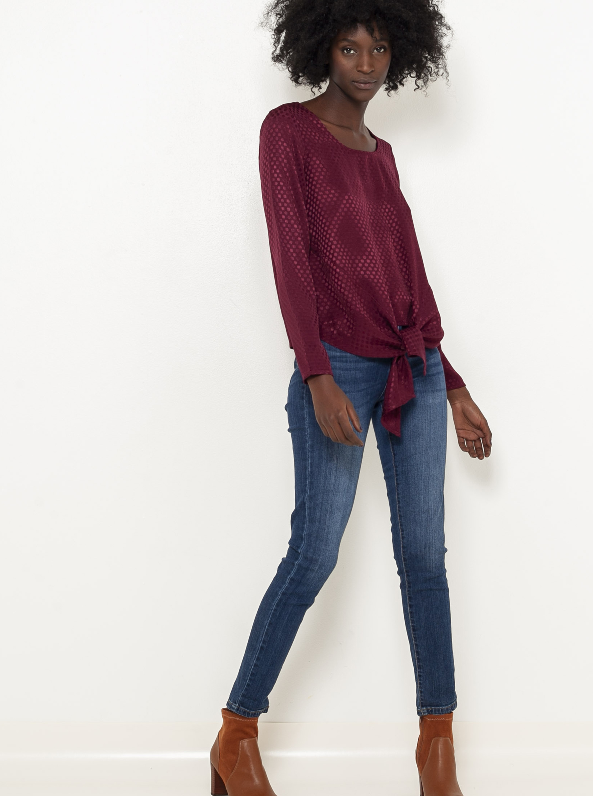 CAMAIEU wine / bordo blouse