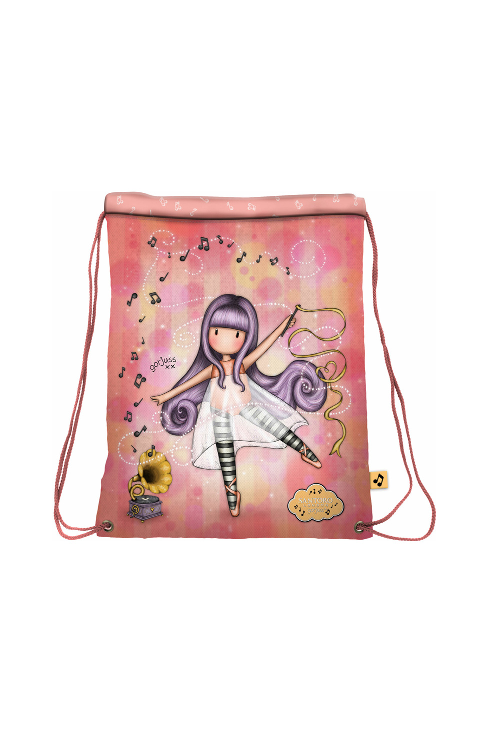 Santoro salmon tighten drawstring bag Gorjuss Little Dancer