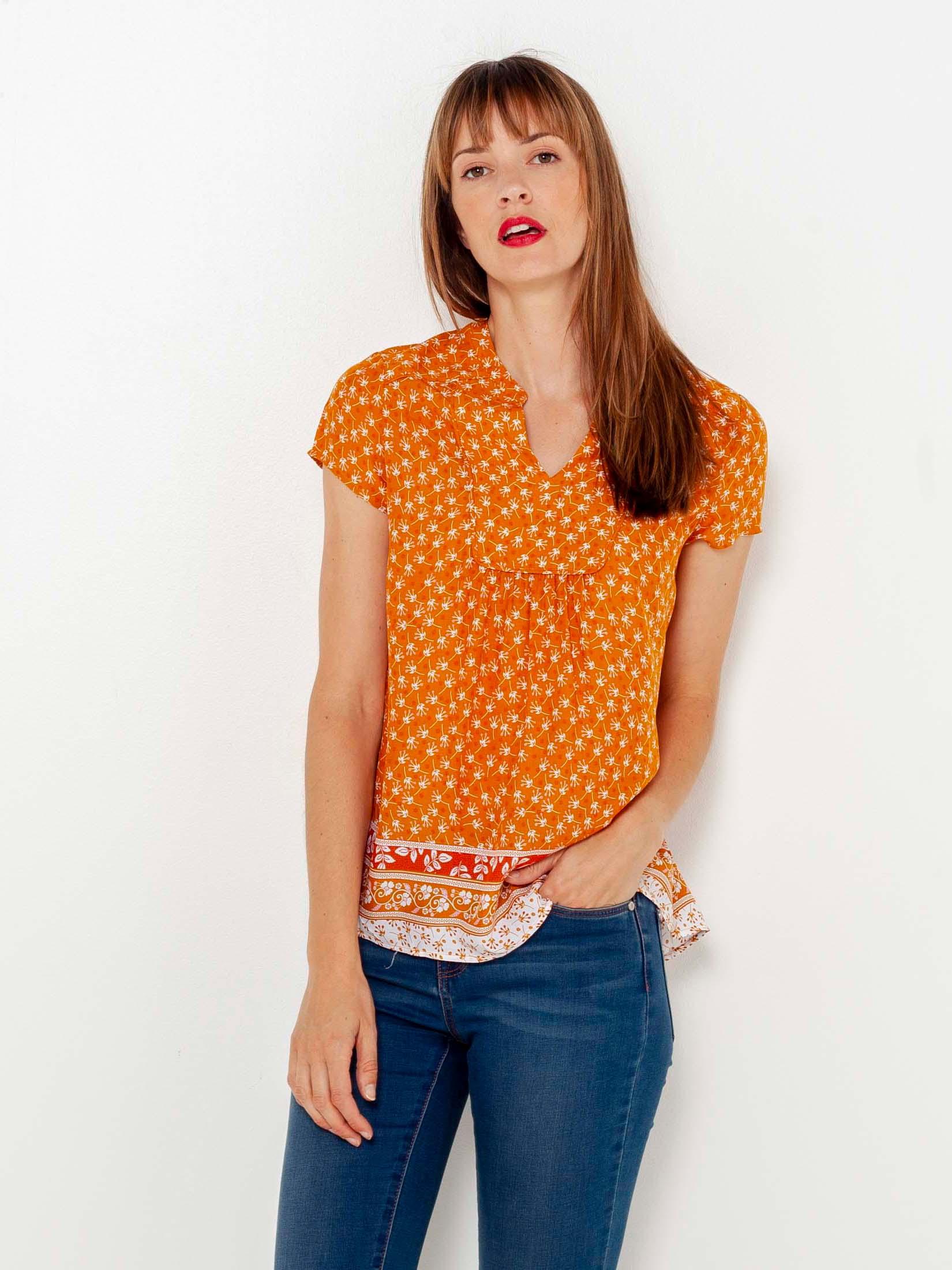 CAMAIEU orange blouse with pattern