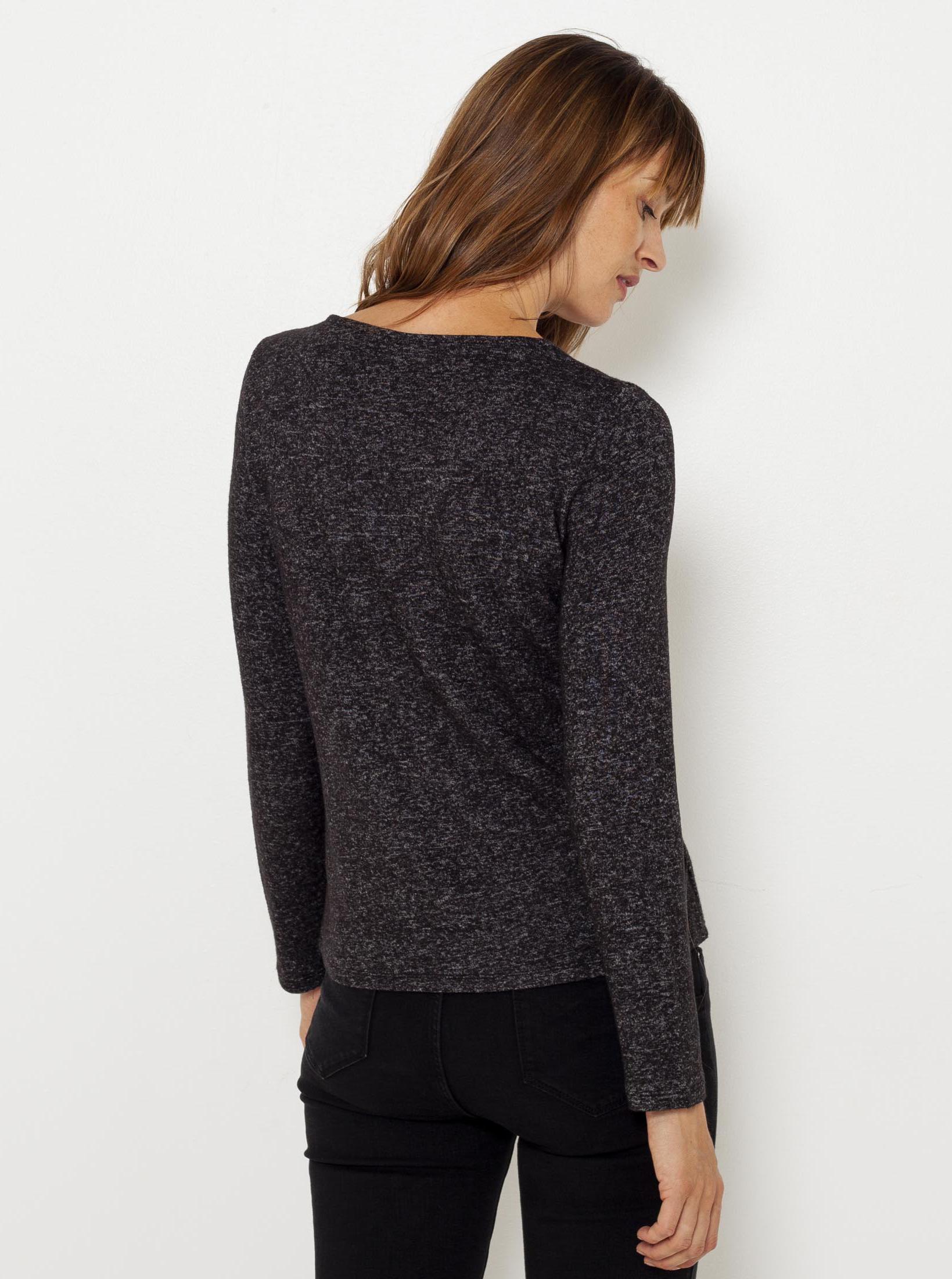 CAMAIEU grey women´s T-shirt with lace