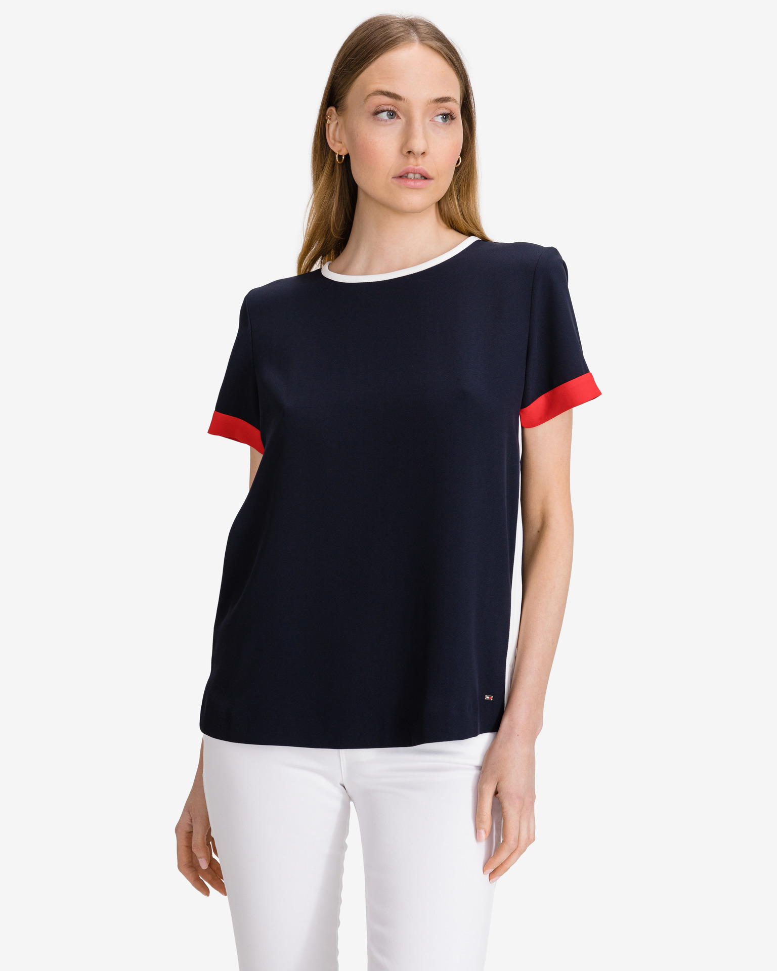 Tommy Hilfiger blue women´s T-shirt Crepe Tipped