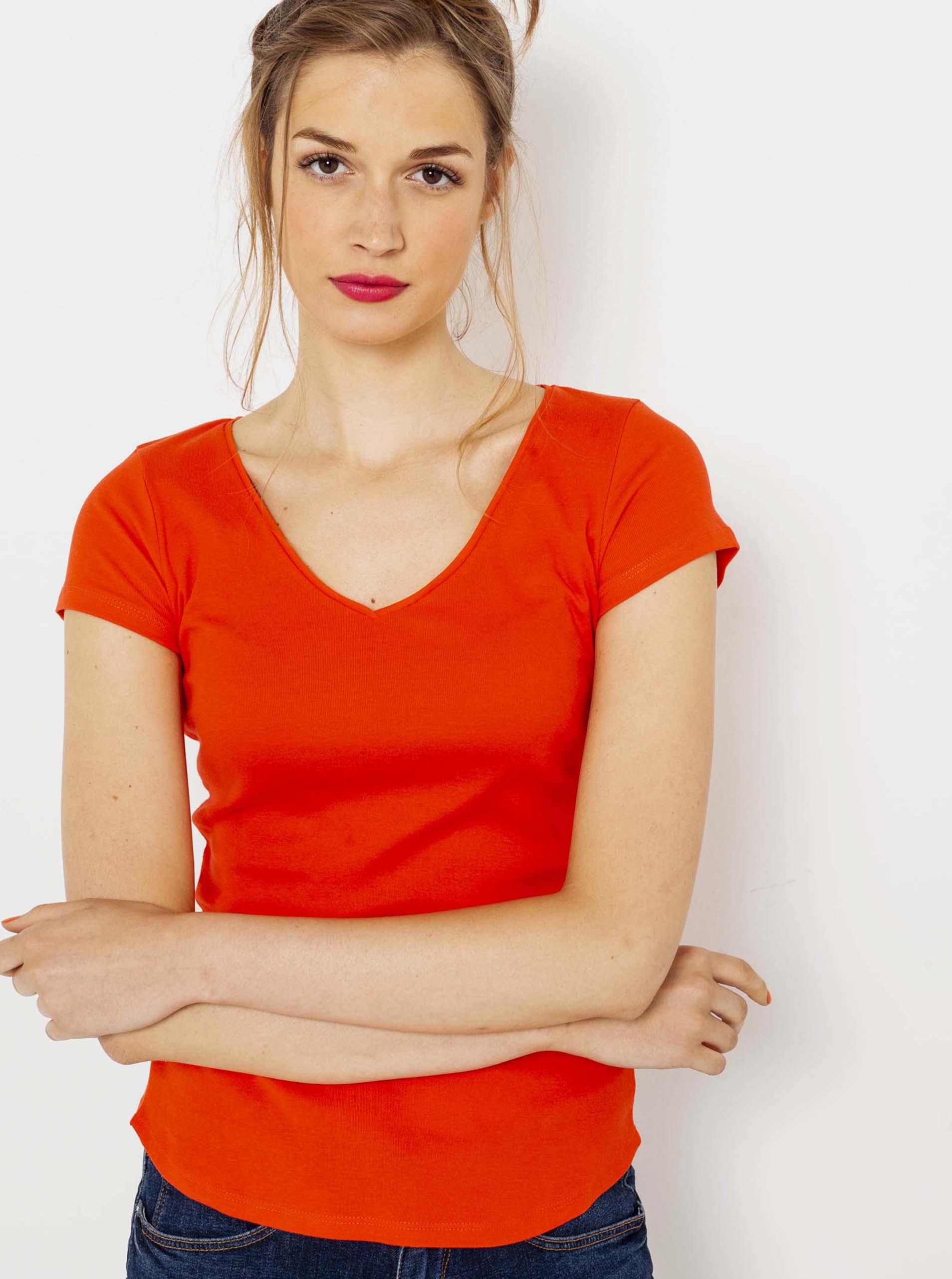 CAMAIEU orange basic T-shirt