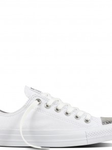 Converse low white sneakers with silver top CTAS OX White