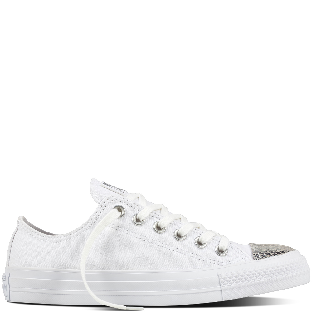 Converse low white sneakers with silver top CTAS OX White Silver