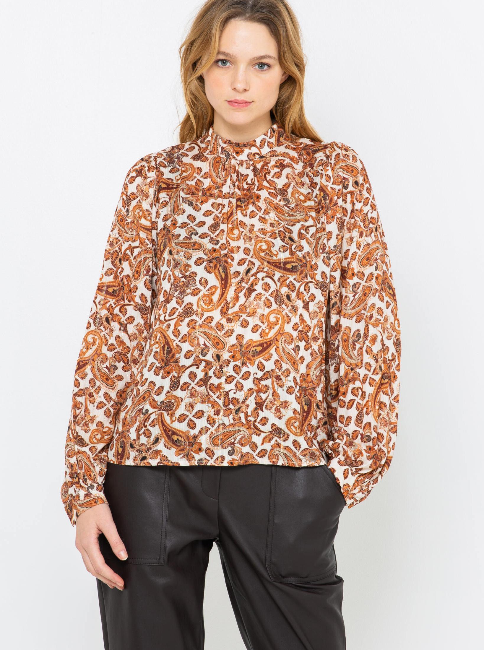 CAMAIEU brown blouse with pattern