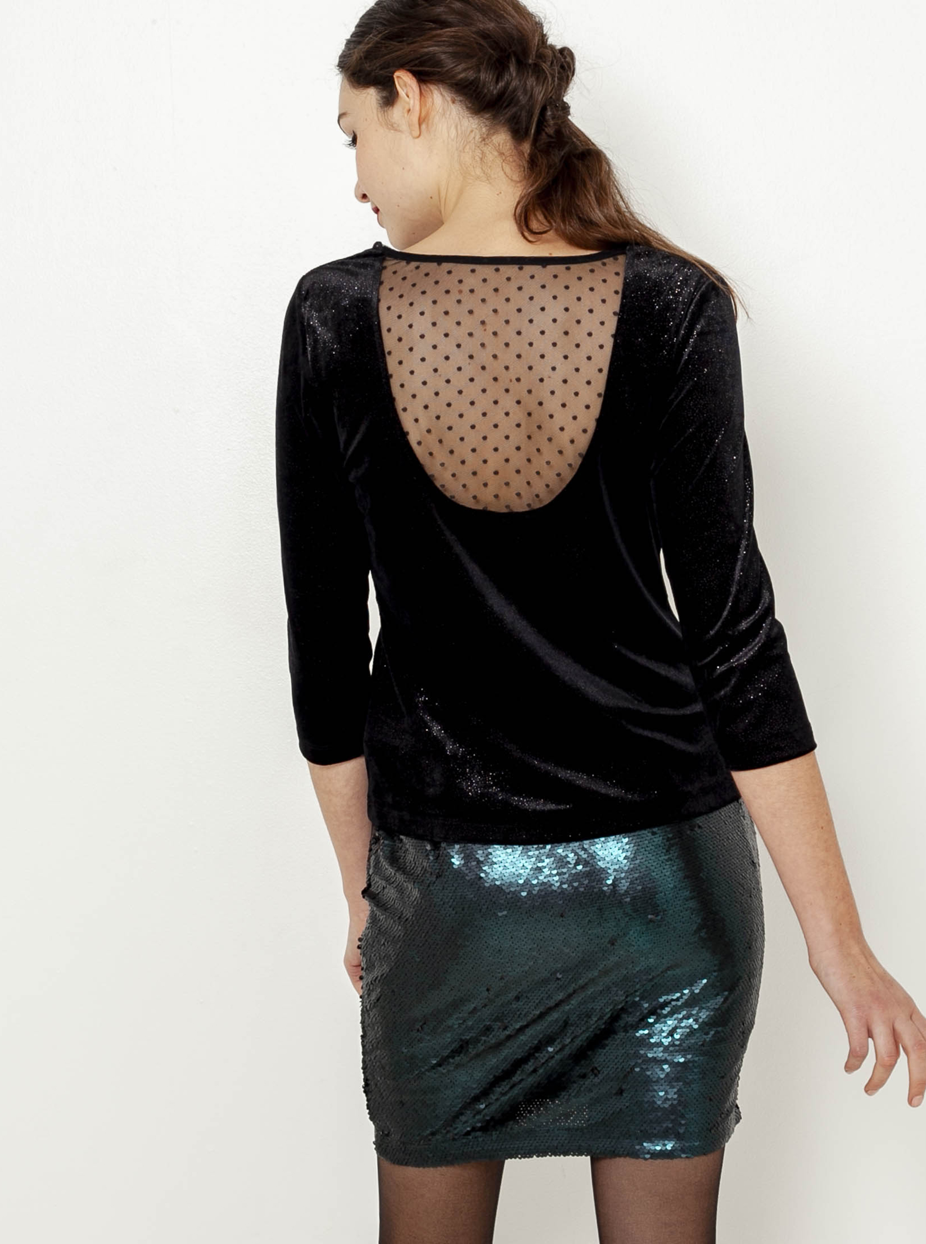 CAMAIEU black blouse with lace