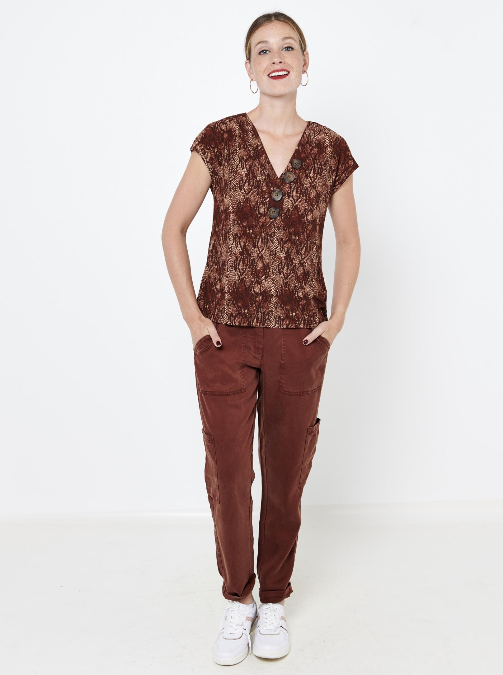 CAMAIEU brown blouse with animal pattern