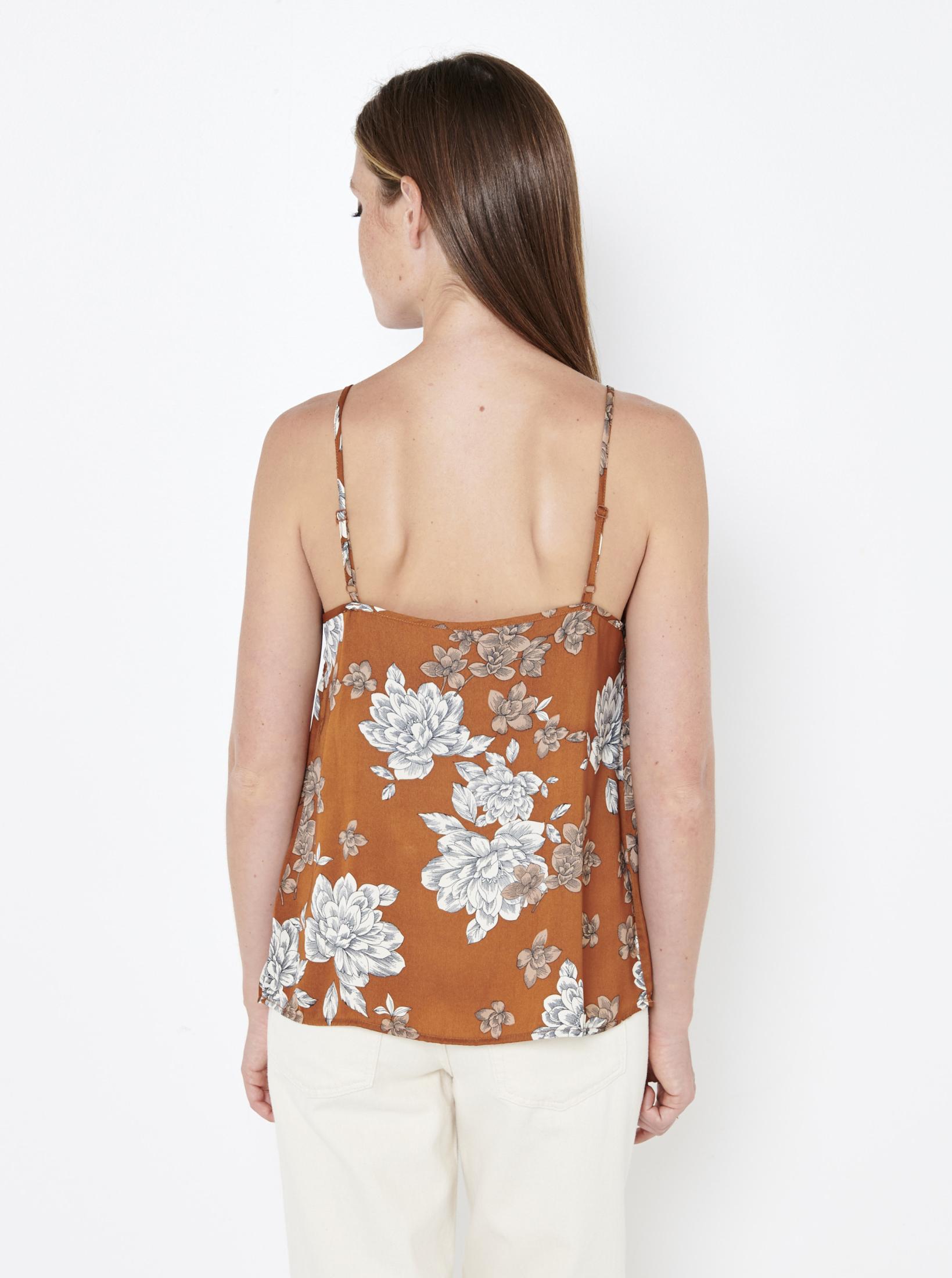 CAMAIEU brown top with floral motif