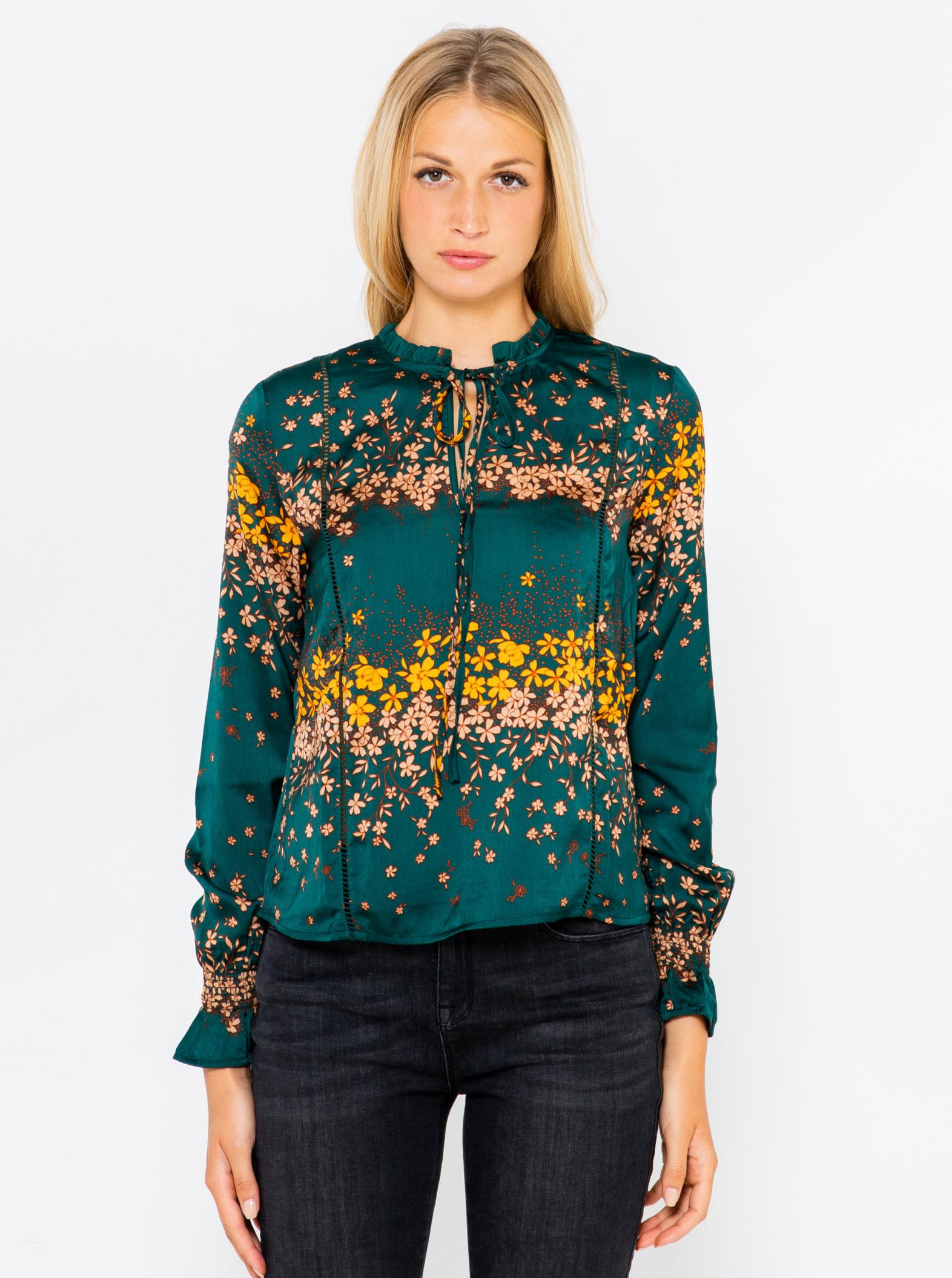 CAMAIEU petroleum blouse with floral motif