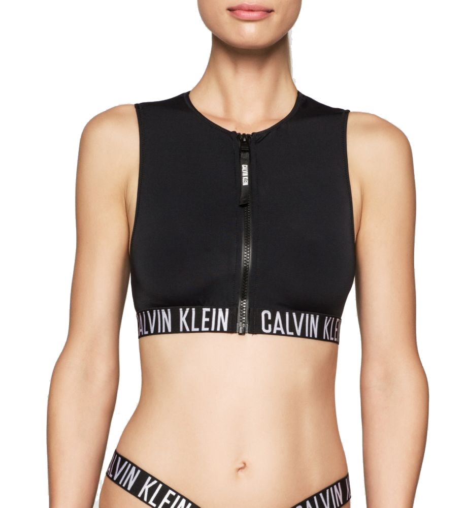 50f29946412 Calvin Klein black top part of two-piece swimsuit Cropped Rash Vest ...