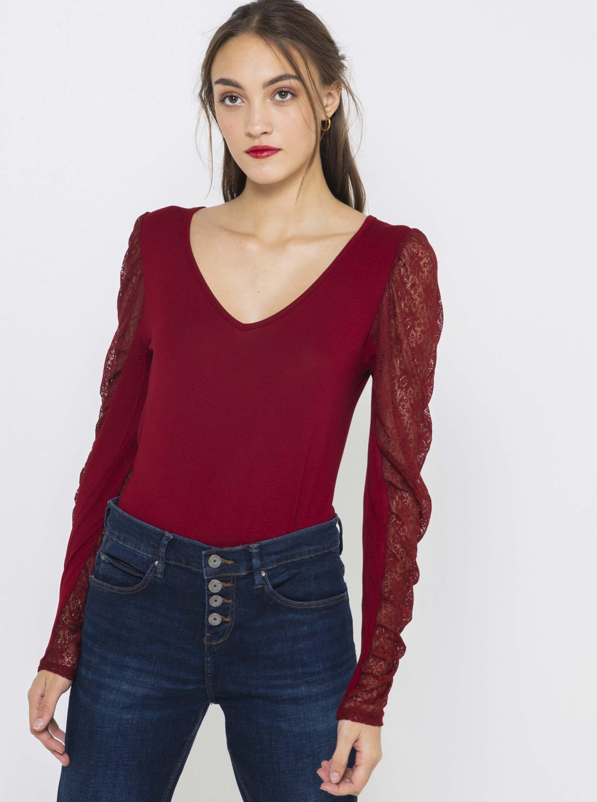 CAMAIEU Women's t-shirt wine red