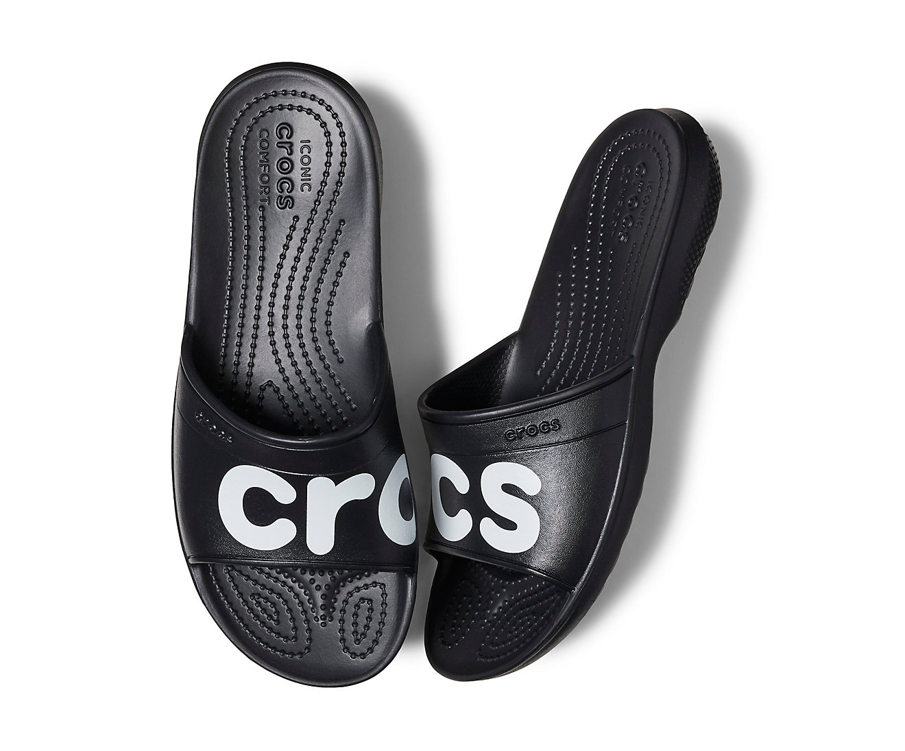 edf9e21ee8 Crocs Black Unisex Slippers Classic Graphic Slide Black   White ...