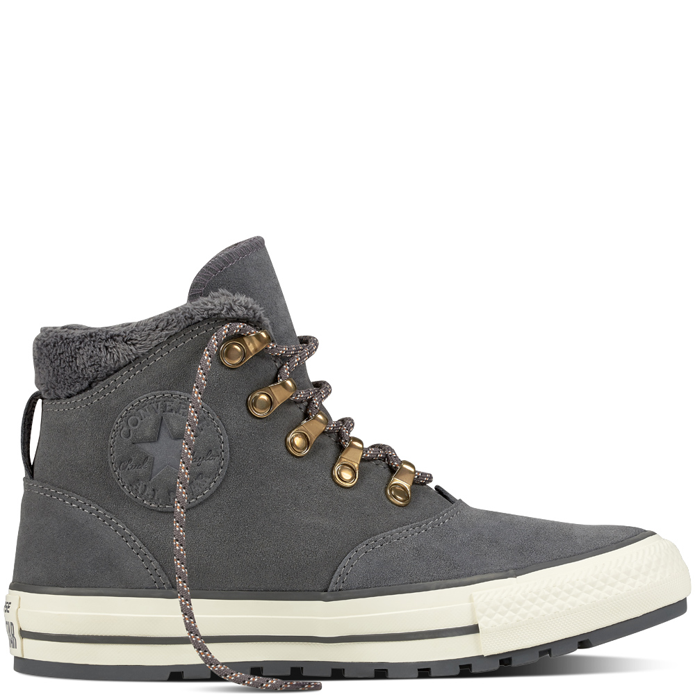 b1a77aeb69a5 Converse Gray Leather Chuck Taylor Sneakers All Star Ember Boot Hi Thunder