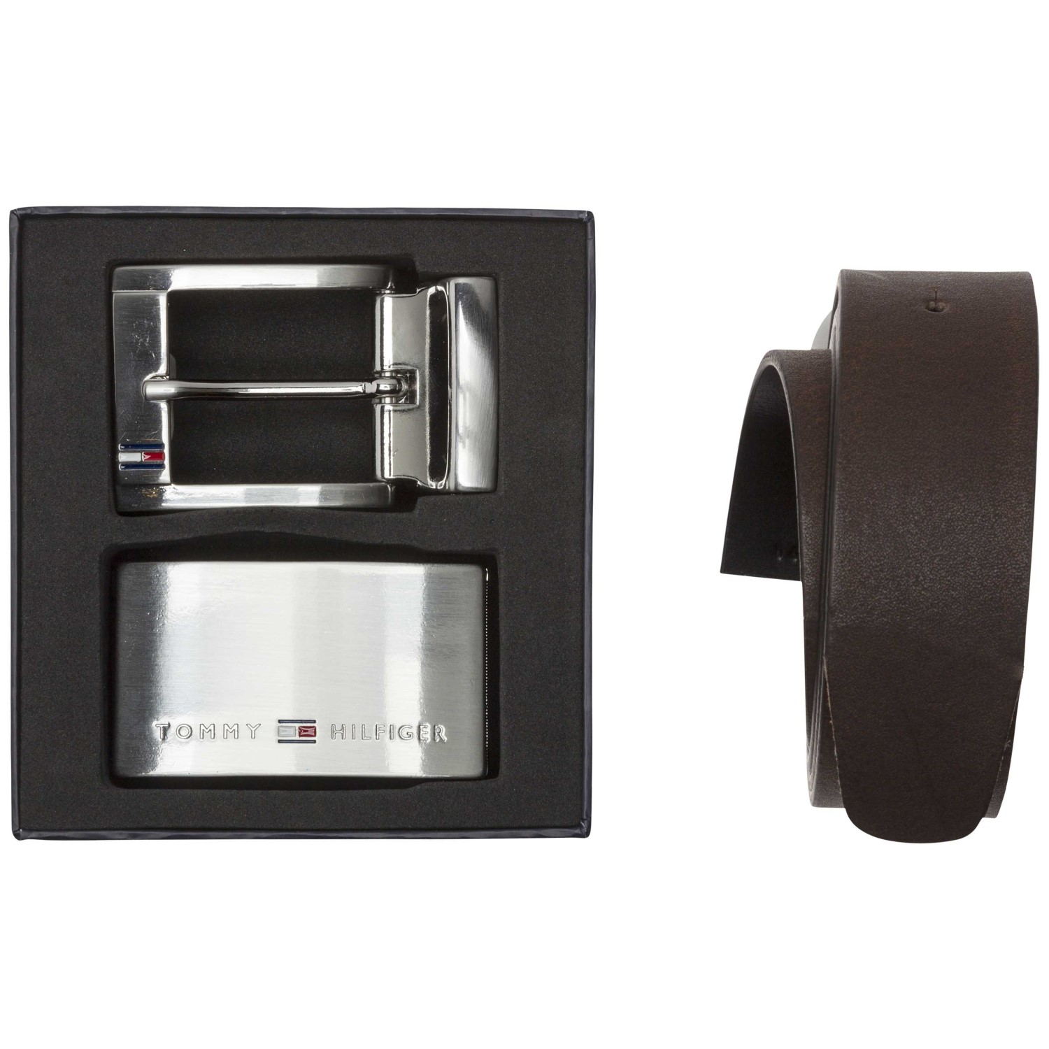 d558741403 Tommy Hilfiger Reversible Leather Mens Belt Double Buckle Giftbo ...