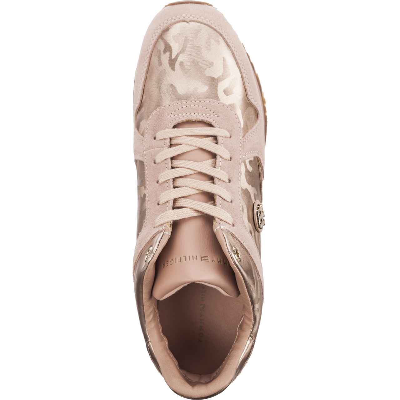 e4491fadc Tommy Hilfiger Powder Sneaker Mahogany Rose Camo Metallic Wedge Sneaker