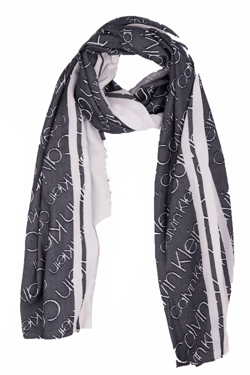 857d8a6d7a Calvin Klein black and white double-sided Burn Out scarf - Scarves ...