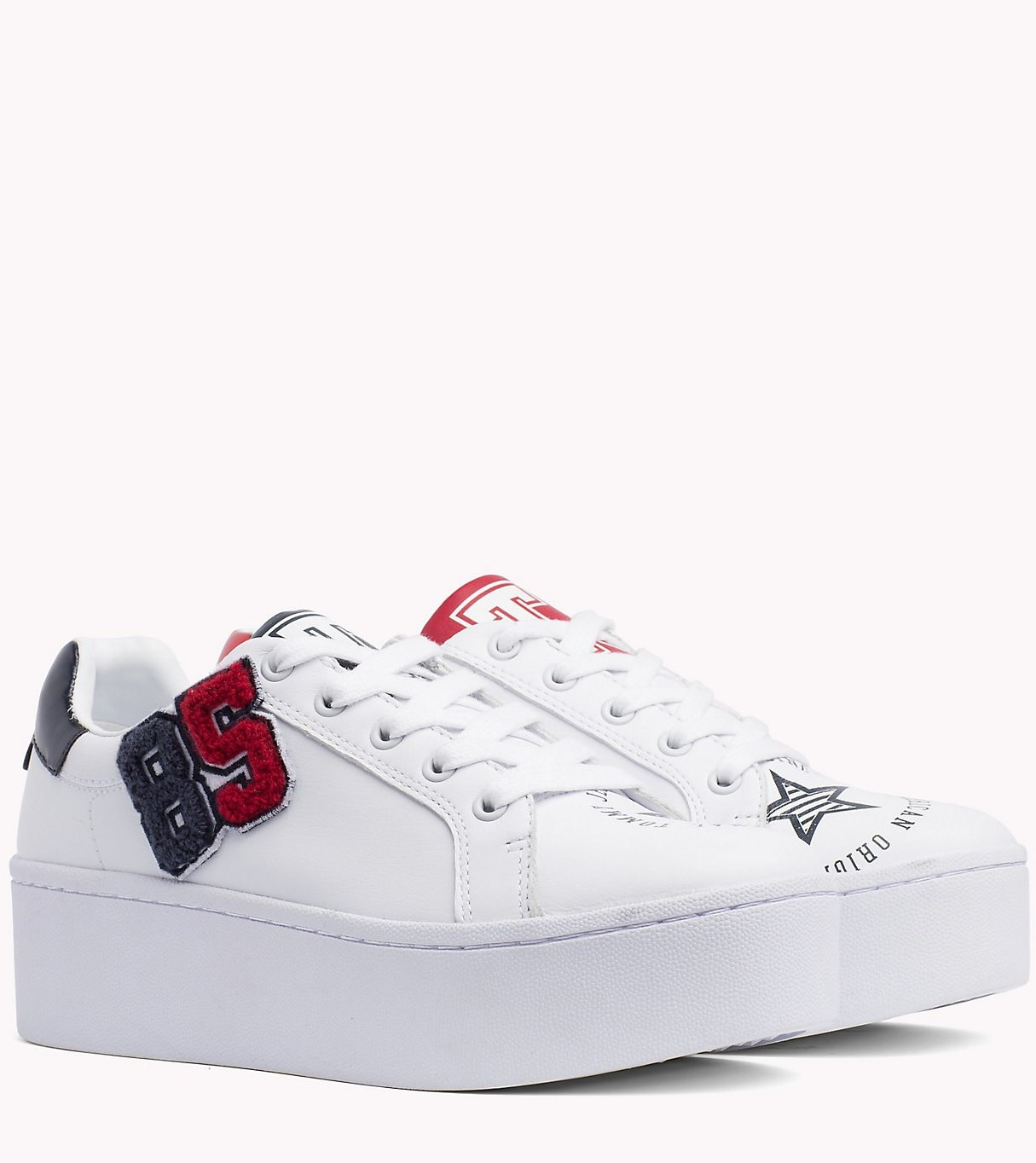 09bf6b47939 Tommy Hilfiger white leather sneakers on the TJ85 platform Icon Sneaker
