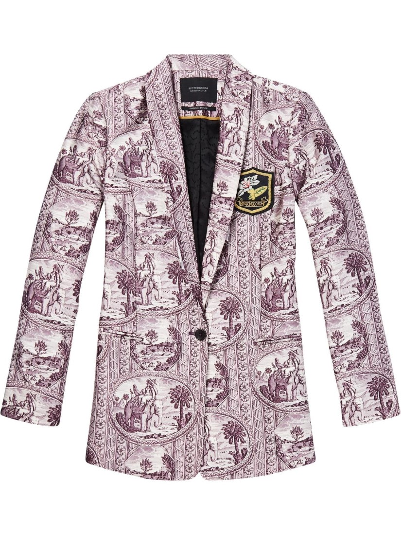 Scotch & Soda Purple Jacket with Elephant and Palm Tree Motives