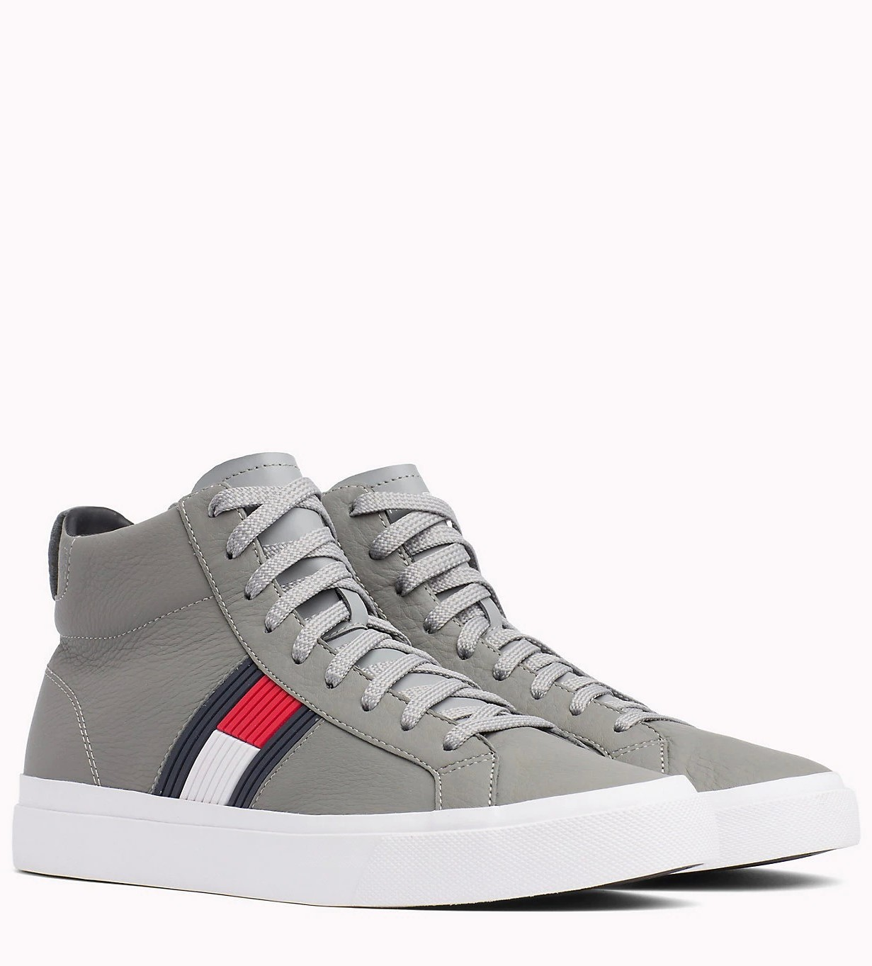 827001521603 Tommy Hilfiger Gray Leather Unisex Sneakers Flag Detail High Leather Sneaker  Light Gray