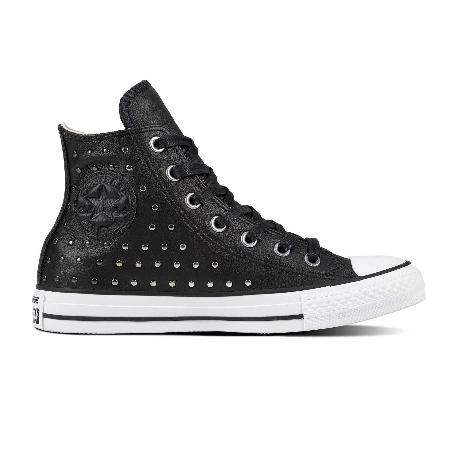 Converse black sneakers with Chuck Taylor All Star Hi Black / Silver studs