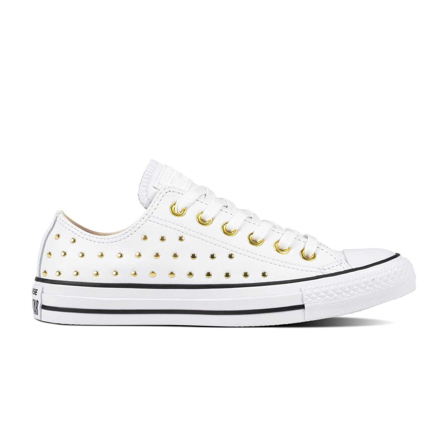 503caf11794717 Converse white sneakers with Chuck Taylor All Star Ox White   Gold studs