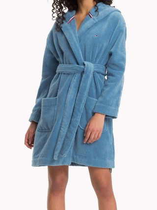 Tommy Hilfiger blue ladies dressing gown with hood ddc7074c416